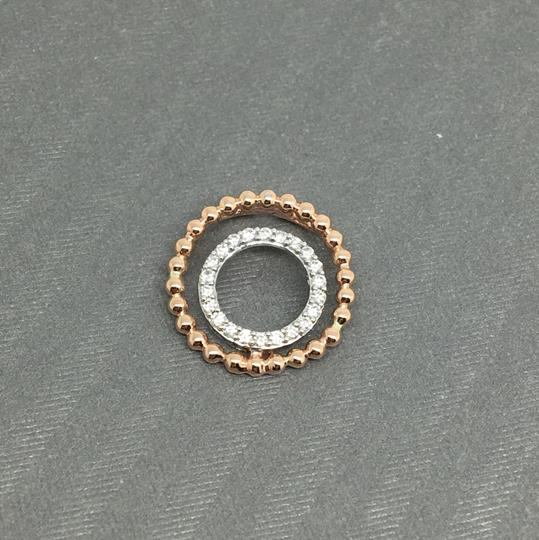 Other 14K Two-Tone Gold Double Circle Beads Style Natural Genuine Diamond Pe