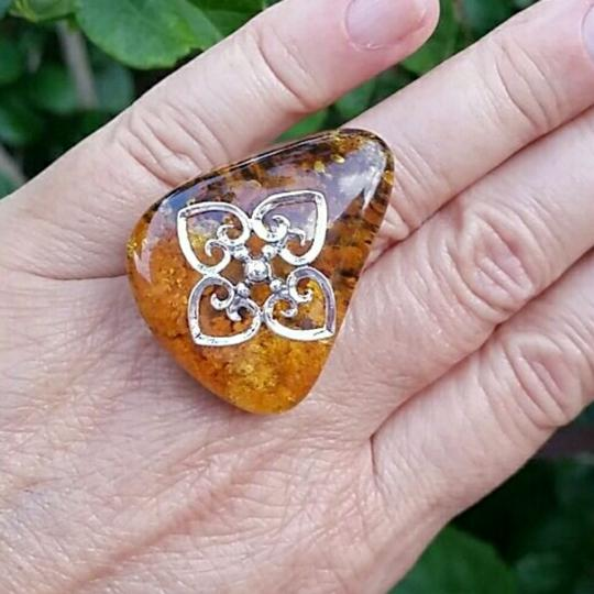 Other Huge Amber sterling silver ring