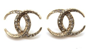 Chanel #15275 RARE Dubai moon CC crystals gold pierced stud earrings