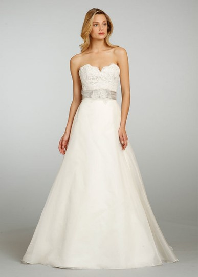 Jim Hjelm Ivory Lace Chiffon 8308 Traditional Wedding Dress Size 2 ...