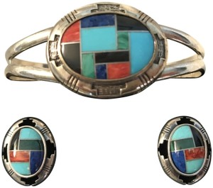 Other Zuni Southwestern Sterling .925 Gemstone Cuff Bracelet & Earring Set