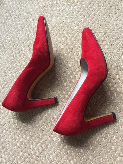 Delman Suede Heels Vtg. Classic Made In Spain Red Pumps