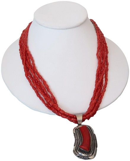 Preload https://img-static.tradesy.com/item/22472837/coral-red-sterling-silver-necklace-0-1-540-540.jpg