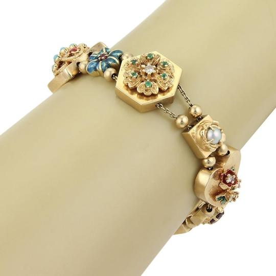 Other Geometric Enamel Diamond & Gems 14k Gold Slide Bracelet