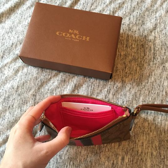 Coach Wristlet in Brown & Pink