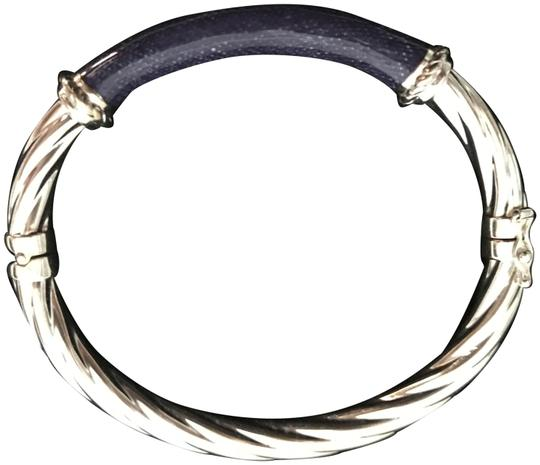 Preload https://img-static.tradesy.com/item/22472910/sterling-silver-925-and-blue-enamel-twisted-hinged-bangle-w-denim-inlay-bracelet-0-1-540-540.jpg