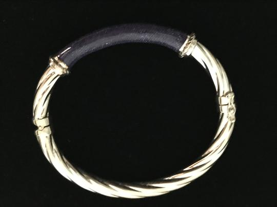 Other Sterling Silver .925 Twisted Hinged Bangle w/ Denim Blue Enamel Inlay