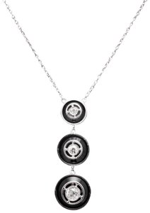 Vintage Art Deco Diamond & Onyx Pendant Necklace in Platinum