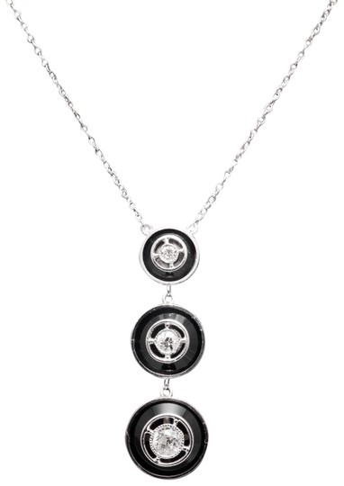 Preload https://img-static.tradesy.com/item/22472960/art-deco-diamond-and-onyx-pendant-platinum-necklace-0-1-540-540.jpg