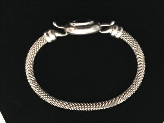 Other Sterling Silver .925 and Onyx Mesh Cuff Bracelet