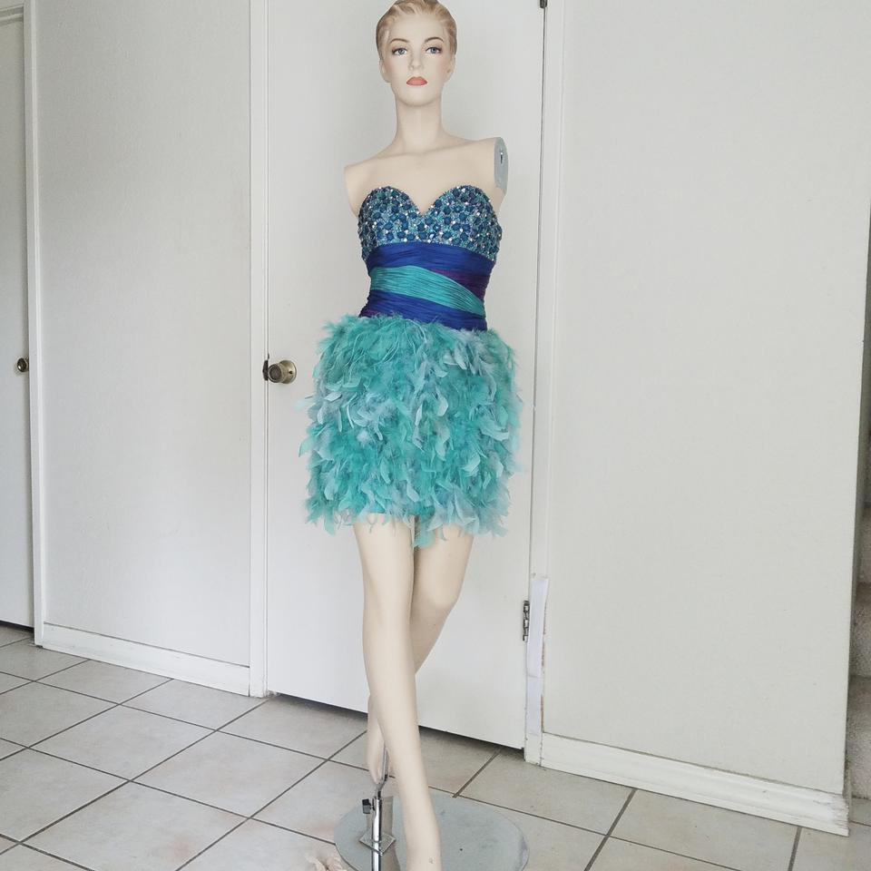 Mac Duggal Couture Multicolor Embellished Blue Feather Short ...