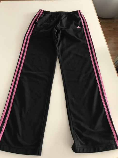 adidas Cotton Lounging Comfortable Athletic Pants Black and Fuchsia