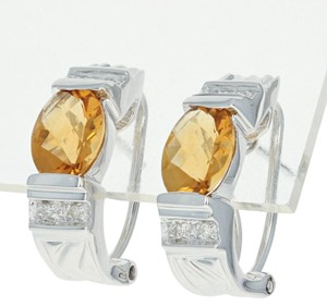 Wilson Brothers Citrine & Diamond J-Hoop Earrings - 14k White Gold Pierced Checkerboar