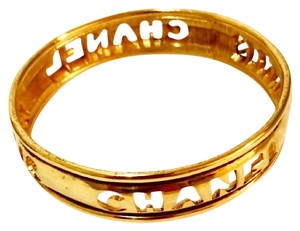 Chanel Vintage Gold Plated Letter Cutout Bangle