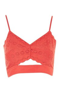 Topshop Crop Vintage Top red