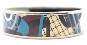 Hermès #15292 Silver enamel plated Bangle bracelet cuff