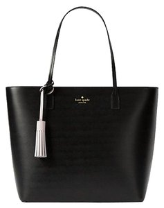 Kate Spade Wright Place Karla Leather Sawyer Street Tori Haven Street Maxi Tote in Black/Plum dawn