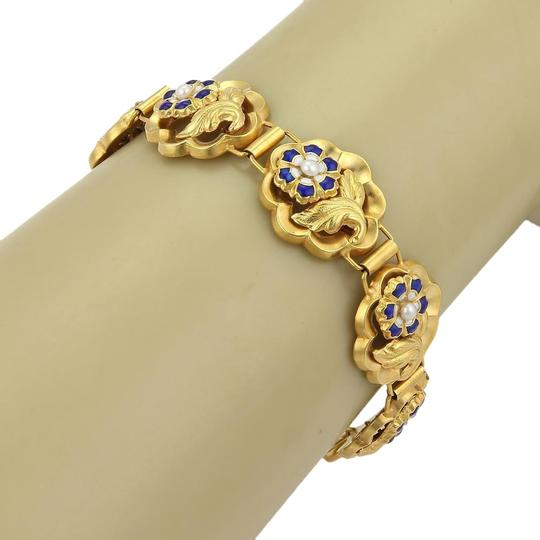 Preload https://img-static.tradesy.com/item/22473295/15629-enamel-and-seed-pearl-rose-link-14k-gold-bracelet-0-3-540-540.jpg