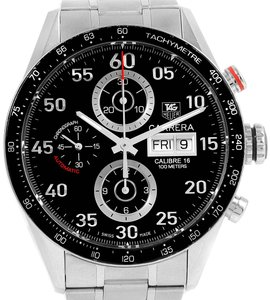 TAG Heuer Tag Heuer Carrera Day Date Black Dial Steel Mens Watch CV2A10