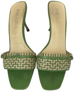Prada Slide Woven GREEN Sandals