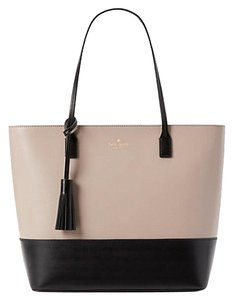 Kate Spade Wright Place Karla Leather Sawyer Street Tori Haven Street Maxi Tote in almondine/black