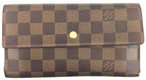 Louis Vuitton #15306 Damier Ebene Large Long trifold Flap Wallet International