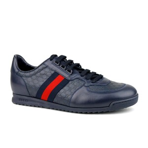 Gucci Navy Blue Leather Guccissima Pattern with Brb Web 7.5g/Us 8.5 233334 4066 Shoes