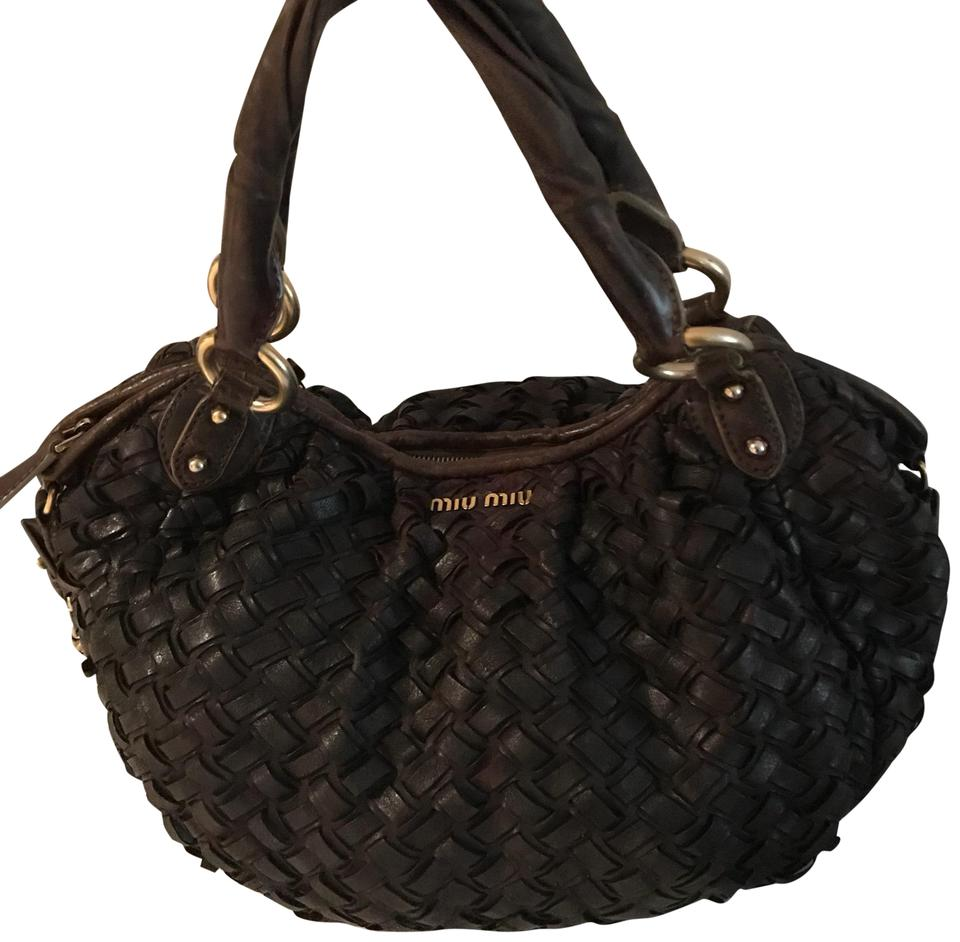 Miu Miu By Prada Intreccio Woven Tote Brown Lambskin Leather Hobo ... 4340ee1e40443