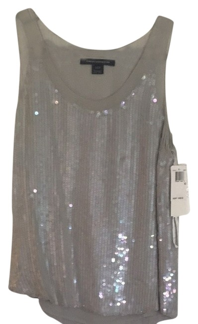 French Connection Top Silver With Iridescent Sequins