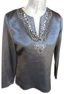 Jones New York Pettite Longsleeve Metallic V-neck Tunic