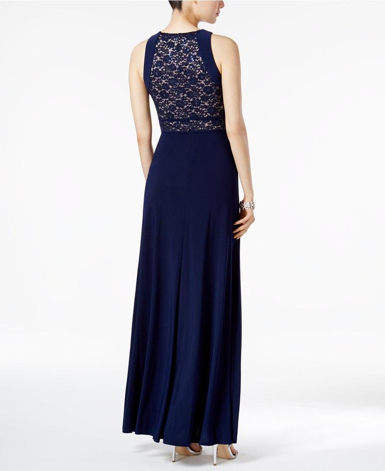 Night Way Collections Navy Off-the-shoulder Gown Long