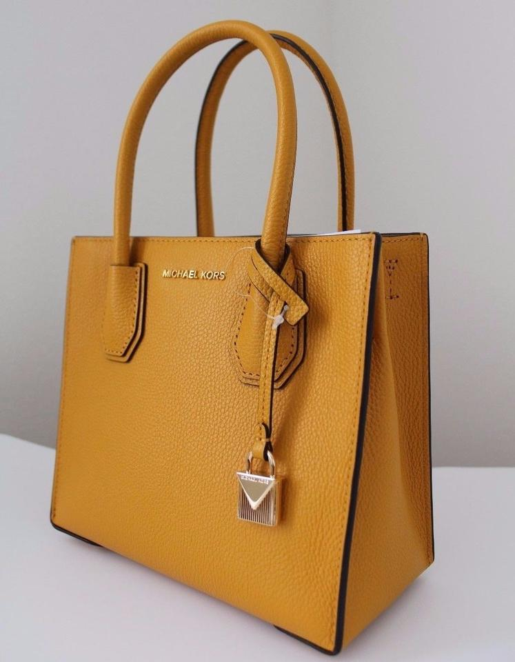 Michael Kors Studio Mercer Medium Messenger Marigold Leather Cross ... 35c51ad6c3c71