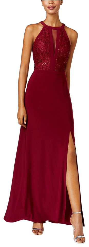 Night Way Collections Merlot Lace Halter Gown Long Formal Dress Size ...