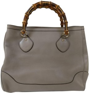 Gucci Bamboo Satchel Black Tote in gray