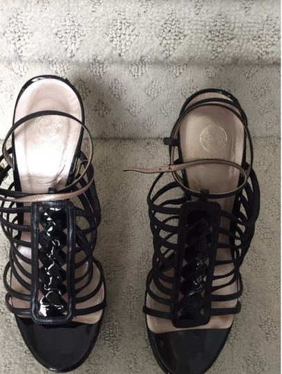 Versace Patent Patent Leather Strappy Ankle Strap Italian Exclusive Chunky Spring Summer Fall Icon Sandal Leather Black Platforms