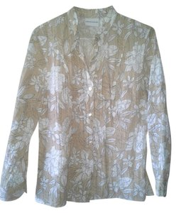 Alfred Dunner Floral Burnout Sheer Long Sleeve Button Down Shirt Brown/White