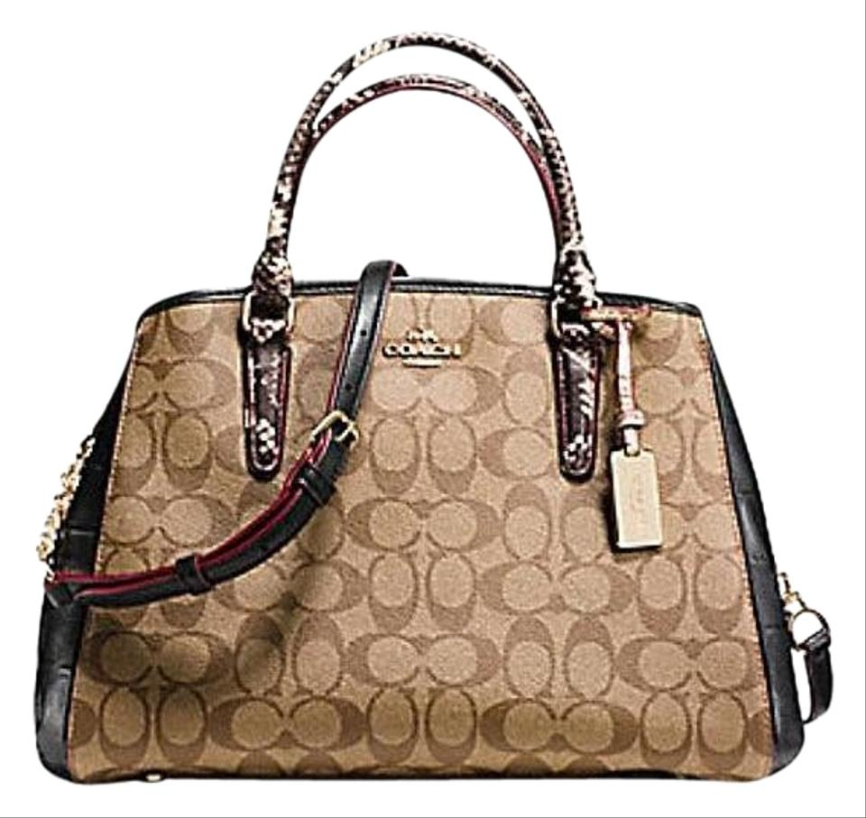 1b67ae2e90 Coach Margot Signature Exotic Mix  38380 Brown Leather Satchel - Tradesy