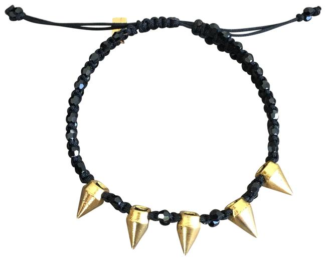 Item - Black & Gold New Spike Pull Tie Bracelet