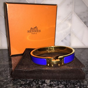 Herms Hermes Clic Clac Enamel Royal Blue H Bracelet Gold Plated Bangle FULL SET
