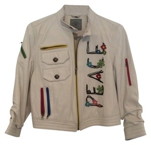 Double D Ranchwear Chic Bohemian Exclusive white/cream Leather Jacket