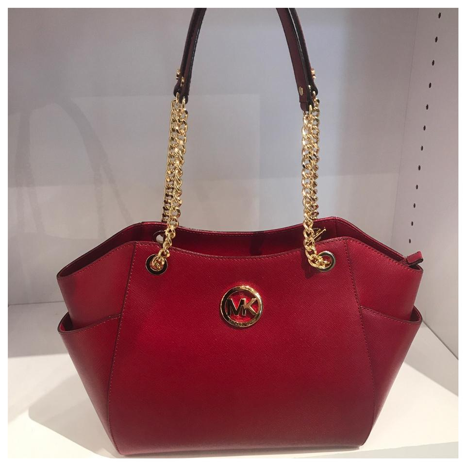 761a1fa3ed163f Michael Kors Mk Jet Set Travel Large Chain Tote Cherry Shoulder Bag -  Tradesy