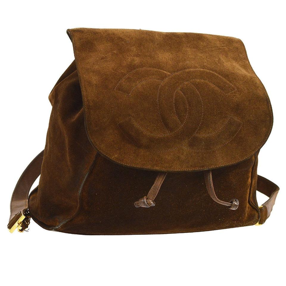 f90c253decc6 Chanel Vintage Cc Brown Suede Leather Backpack - Tradesy