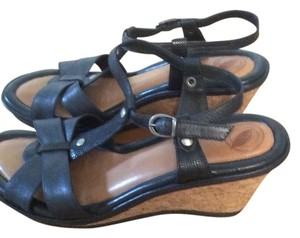 Comfort Sandal Cushioned black leather Wedges