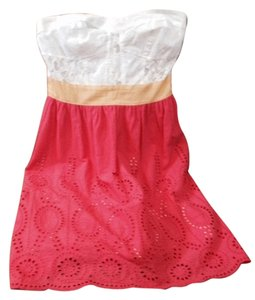 Flying Tomato short dress coral/white with yellow band at bust on Tradesy