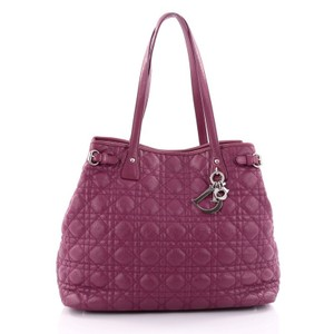 Dior Christian Cannage Canvas Tote in Purple