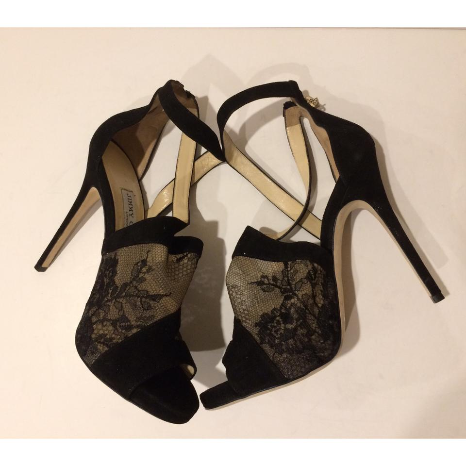 b7fa444a788 Jimmy Choo Black New Vantage Lace and Suede Leather Sandals Formal ...
