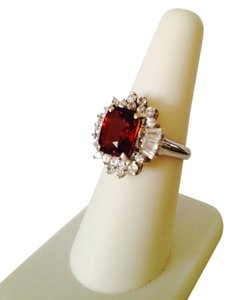 Embellished by Leecia Red/Orange Rare Labradorite & White Zircon Gemstone Ring, Size 7