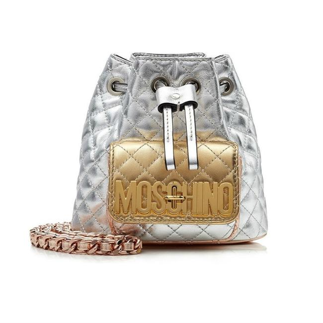 Item - Quilted Mini In Metallic Silver / Gold Leather Backpack