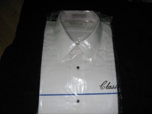 Classix White Pleated Tuxedo M 36/37 Laydown Collar Shirt