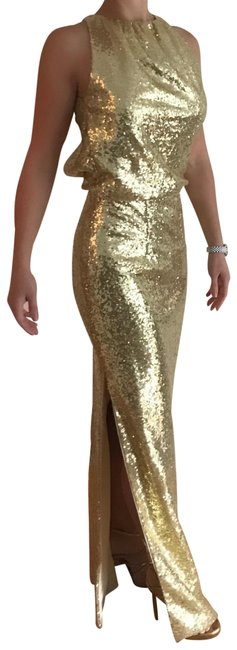 Item - Gold Custom Sequin Gown Long Formal Dress Size 0 (XS)